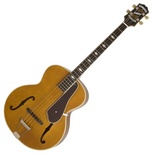 Epiphone De Luxe Classic Acoustic Electric Bass, Vintage Natural Full View