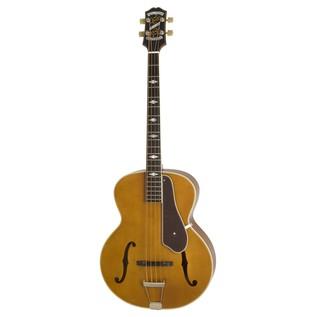 Epiphone De Luxe Classic Acoustic Electric Bass, Vintage Natural Front View