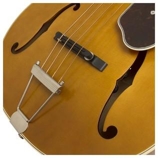 Epiphone De Luxe Classic Acoustic Electric Bass, Vintage Natural Bridge View