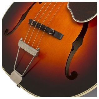 Epiphone De Luxe Classic Acoustic Electric Bass, Vintage Sunburst Bridge View