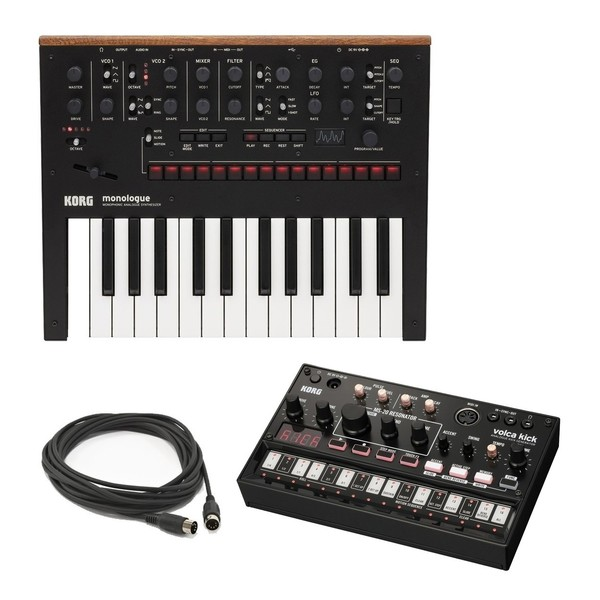 Korg Monologue Analogue Synth, Korg Volca Analog Kick, 3m MIDI Cable