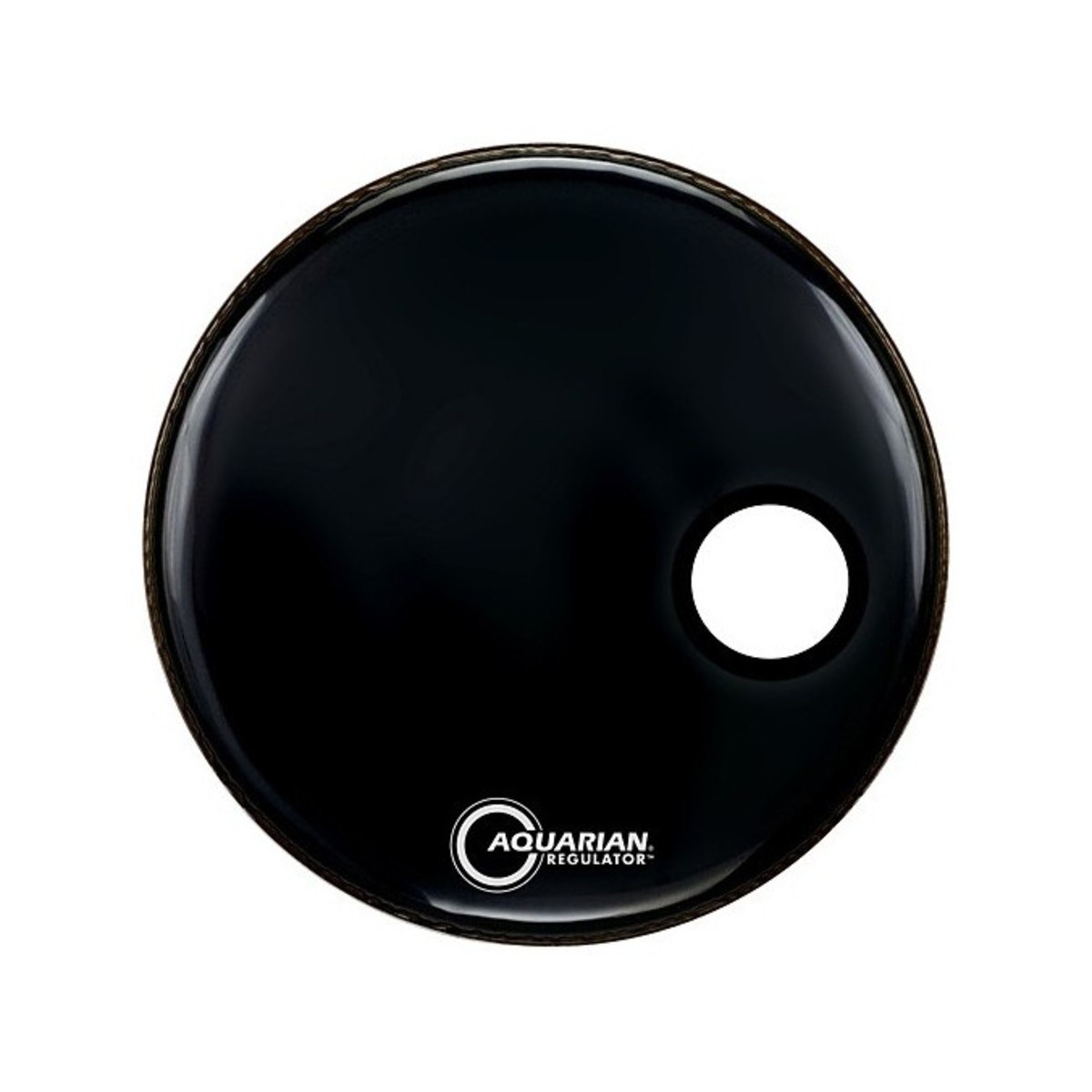 aquarian regulator 24 39 39 resonant bass drum head w hole black at gear4music. Black Bedroom Furniture Sets. Home Design Ideas