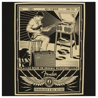 Fender Sitting Player Mens Tee Black XL  Detail