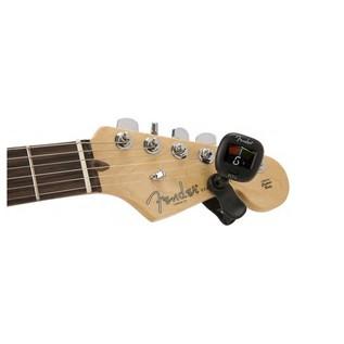 Fender FCMT-2 Colour Mini Clip Tuner on headstock