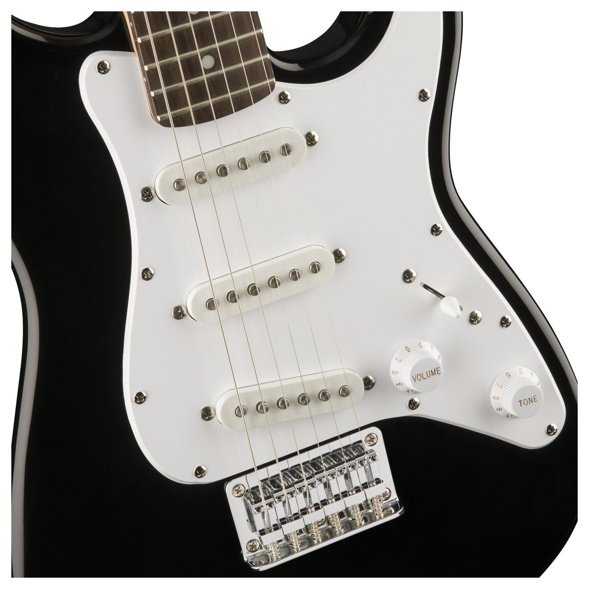 squier by fender mini stratocaster 3 4 size electric guitar black box opened at gear4music. Black Bedroom Furniture Sets. Home Design Ideas