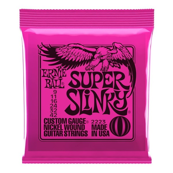 Ernie Ball Super Slinky 2223 Nickel Guitar Strings 9-42 front of shop