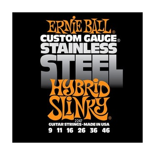 Ernie Ball Stainless Steel Hybrid Slinky 2247 Guitar Strings, 9-46