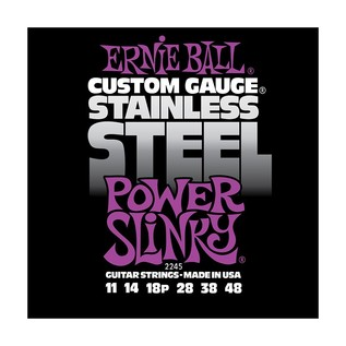 Ernie Ball Stainless Steel Power Slinky 2245 Guitar Strings 11-48