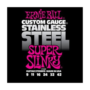 Ernie Ball Stainless Steel Super Slinky 2248 Guitar Strings, 9-42