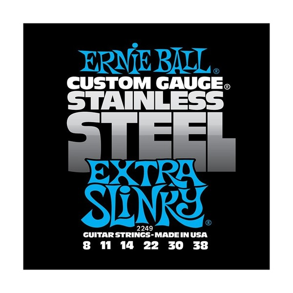 Ernie Ball Stainless Steel Extra Slinky 2249 Guitar Strings, 8-38