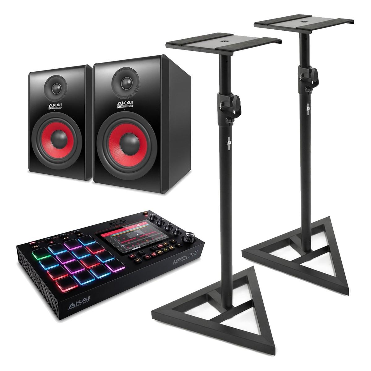 Akai MPC Live With Akai RPM 500 Studio Monitors And Stands
