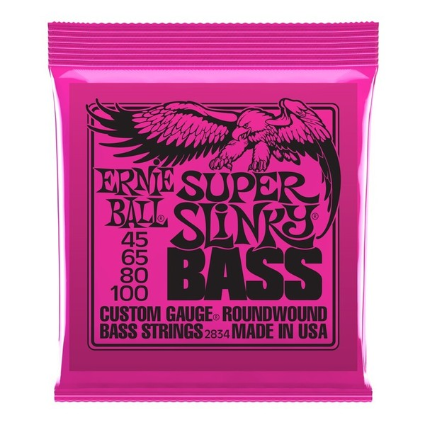 Ernie Ball Super Slinky 2834 Nickel Bass Guitar Strings 45-100 front of pack