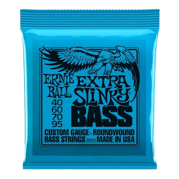 Ernie Ball Extra Slinky 2835 Nickel Bass Guitar Strings 40-95 front of pack