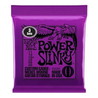 Ernie Ball Power Slinky Electric Guitar Strings, 3 Pack (11 - 48) front of pack