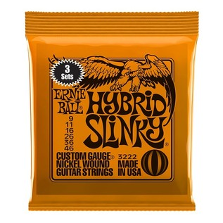 Ernie Ball Hybrid Slinky Electric Guitar Strings, 3 Pack (9 - 46) front of pack