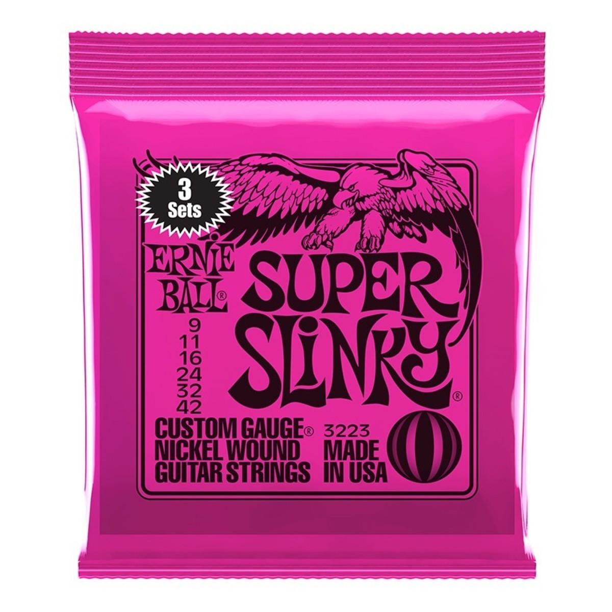 ernie ball super slinky electric guitar strings 3 pack 9 42 at gear4music. Black Bedroom Furniture Sets. Home Design Ideas