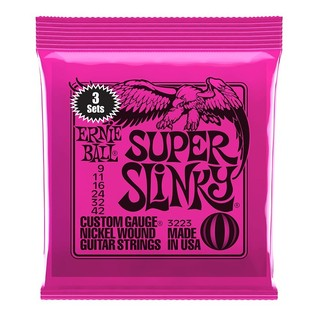 Ernie Ball Super Slinky Electric Guitar Strings, 3 Pack (9 - 42) front of pack