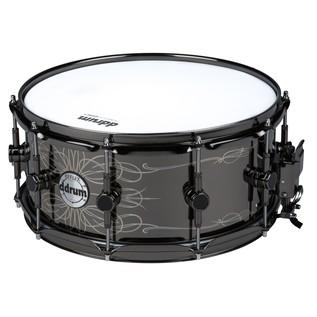 DDrum Reflex Tattooed Lady 6.5x14 Black Engraved Steel Snare Drum
