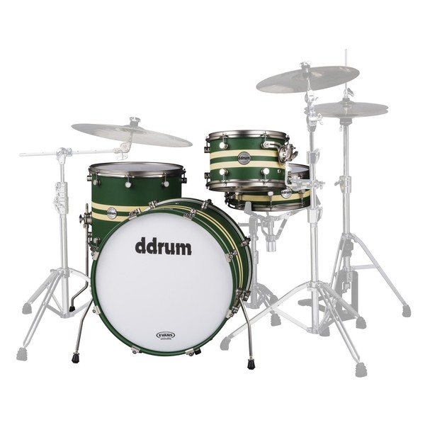 "DDrum Reflex Rally Sport 4pc 22"" Shell Pack, Green with Cream Stripes"