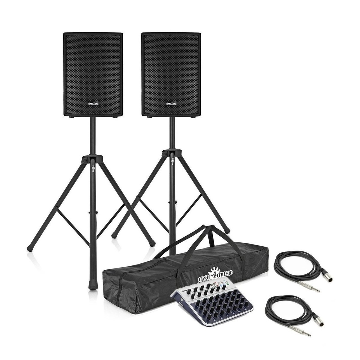 SubZero 700W 12'' Active PA System with Stands and Mixer