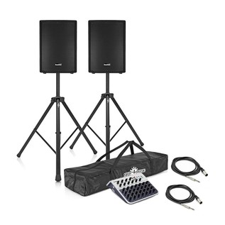 "SubZero 700W 12"" Active PA System with Stands and Mixer"