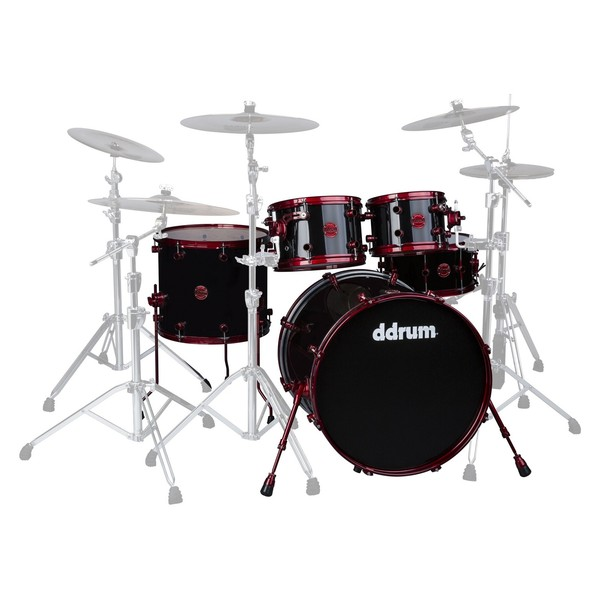 "DDrum Reflex RED 5pc 22"" Shell Pack, Black with Red Hardware"