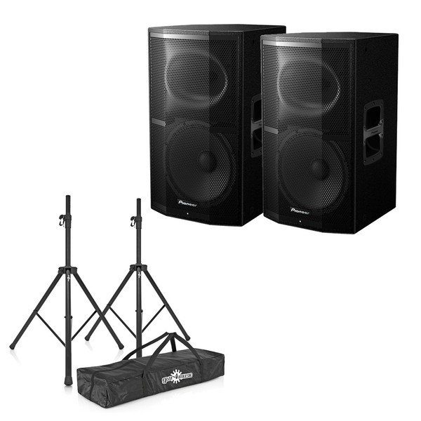 Pioneer XPRS-12 Active PA Speaker Pair With Stands