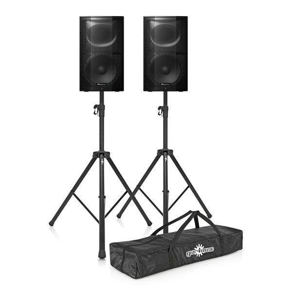 Pioneer XPRS-15 Active PA Speaker Pair with Stands