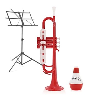 playLITE Hybrid Trumpet by Gear4music, Red + Music Stand & Mute