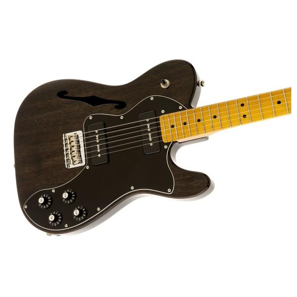 Fender Modern Player Telecaster Thinline Deluxe, Black Transparent Right