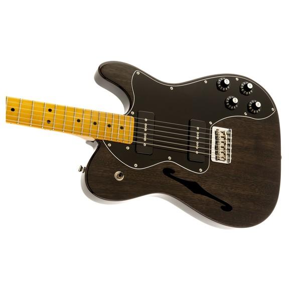 Fender Modern Player Telecaster Thinline Deluxe, Black Transparent Left