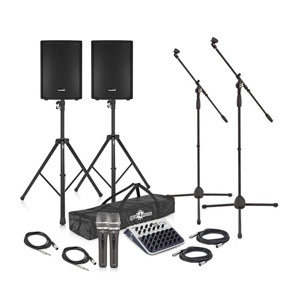 "SubZero 800W 15"" Active PA System with Mic and Stands"