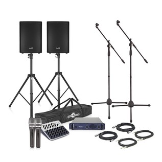 "SubZero 800W 15"" Passive PA System with Mixer, Stands and Mics"