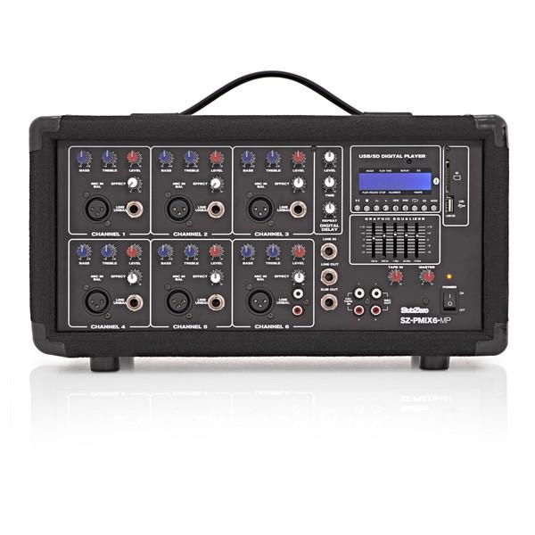 SubZero SZ-PMIX6-MP3 6 Channel Powered Mixer, Bluetooth & MP3 Player
