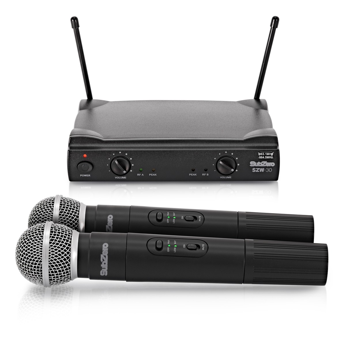 subzero szw 30 dual handheld wireless microphone system b stock at gear4music