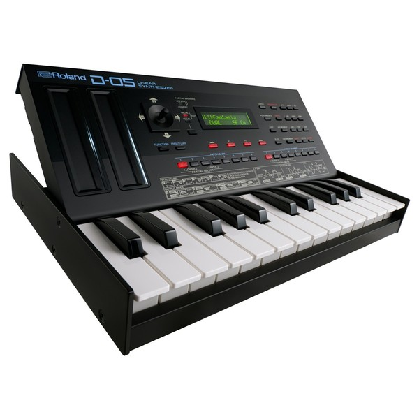 Roland Boutique D-05 Analog Synthesizer With Roland K-25m Keyboard - Angled Lifted 2