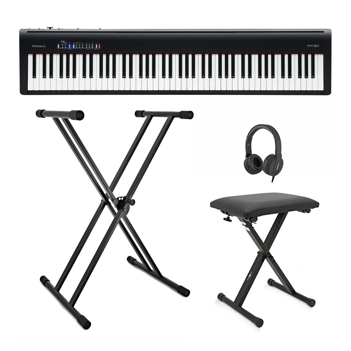 Roland Fp 30 Digital Piano With Stand Stool And Headphones Black At Gear4music