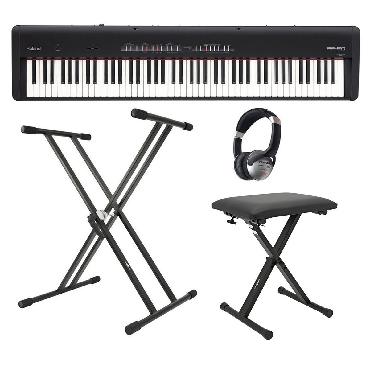 Roland FP 50 Digitalpiano mit Ständer, Hocker und Kopfhörer, schwarz ...