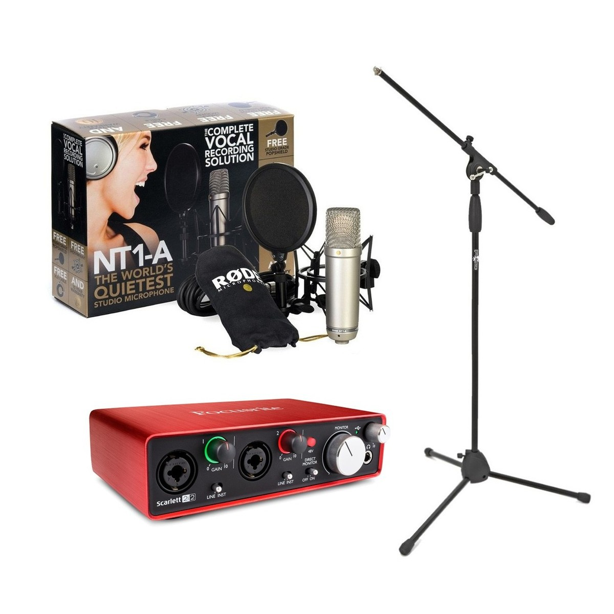 rode nt1 a vocal recording pack with focusrite 2i2 interface stand at gear4music. Black Bedroom Furniture Sets. Home Design Ideas