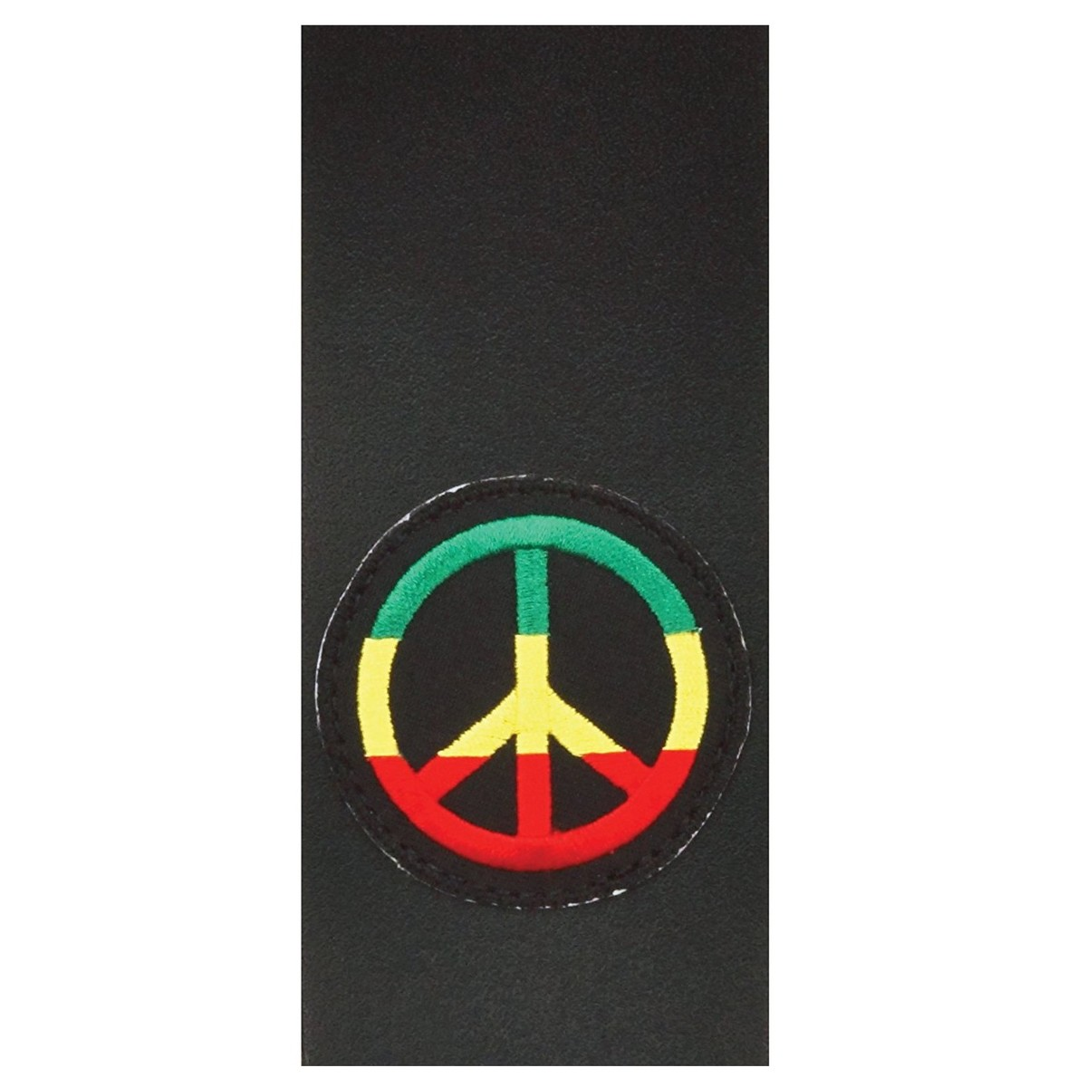 Planet Waves 25 Leather Guitar Strap Jamaican Peace Sign Patch