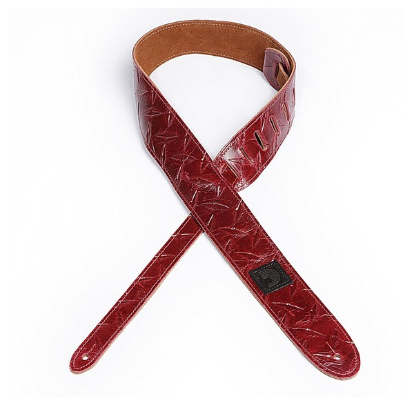 """Planet Waves 2"""" Diamond Plate Leather Embosses Guitar Strap, Red"""