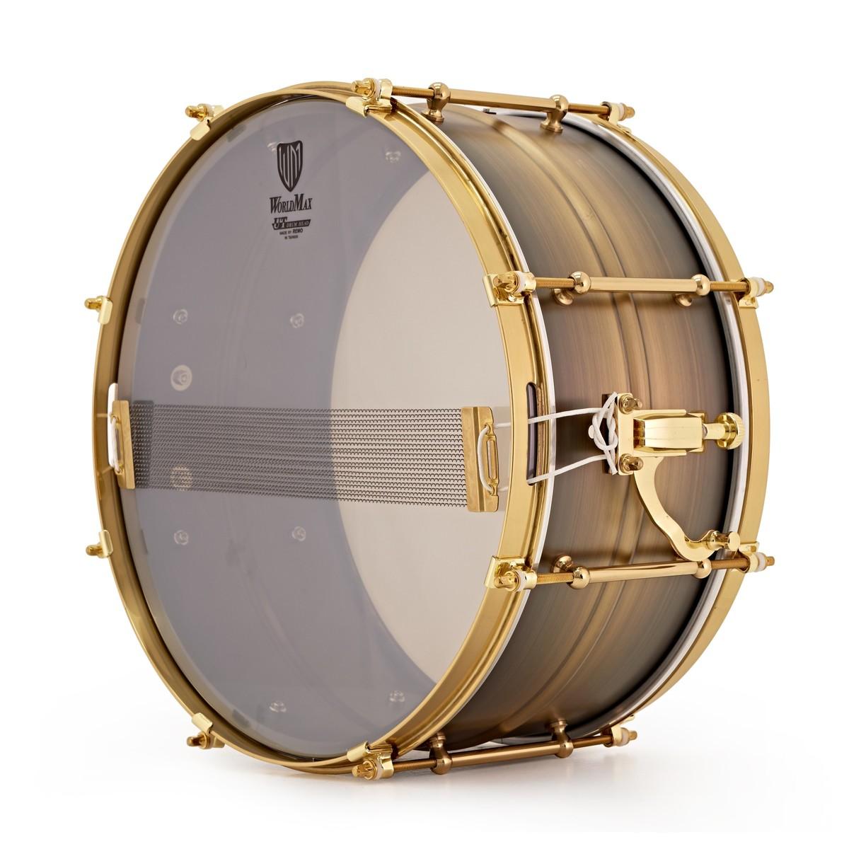 WorldMax Black Dawg 14\'\' x 6.5\'\' Antique Brushed Brass Snare Drum ...