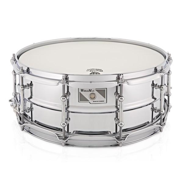 WorldMax 14'' x 5.5'' Beaded Chrome Over Steel Snare Drum, Chrome HW