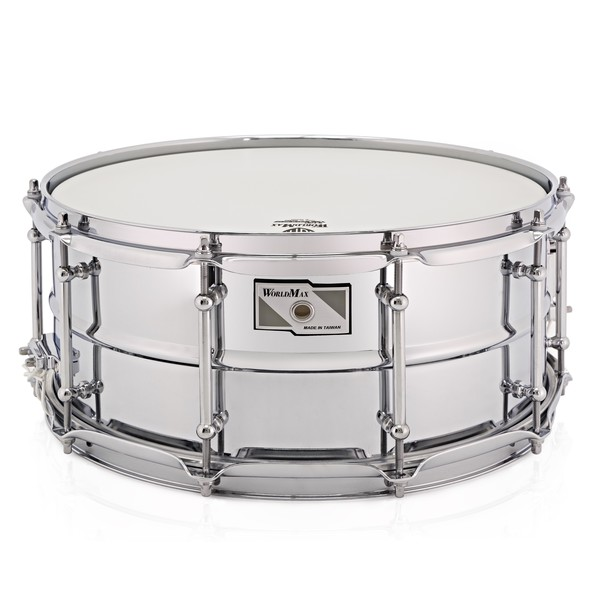 WorldMax 14'' x 6.5'' Beaded Chrome Over Steel Snare Drum, Chrome HW