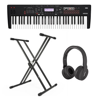 Korg Kross 2 61 Key Synthesizer Workstation with Stand and Headphones - Bundle