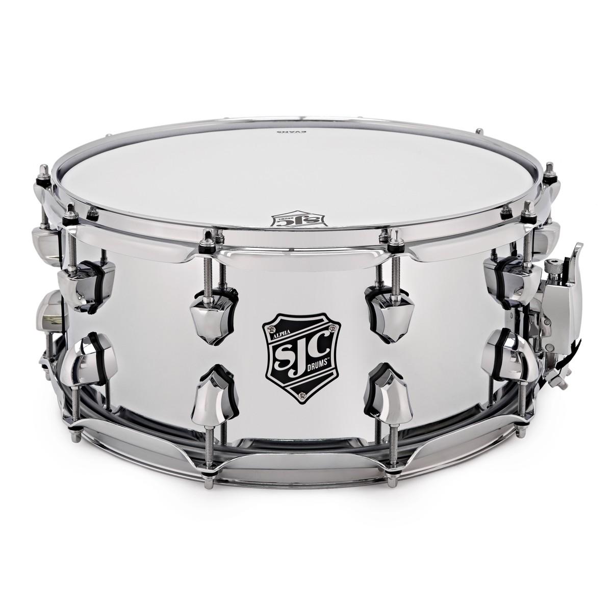 SJC Drums Alpha 14\'\' x 6.5\'\' Snare Drum, Chrome over Rolled Steel at ...