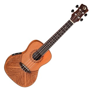 Luna Tapa Electro Acoustic Concert Ukulele, Solid Cedar Top Front View