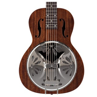 Gretsch G9210 Boxcar Resonator, Square Neck, Natural front close up view