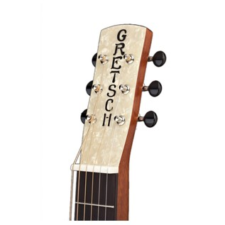 Gretsch G9210 Boxcar Resonator, Square Neck, Natural headstock view angled