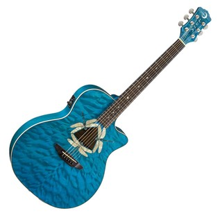 Luna Fauna Dragonfly Electro Acoustic Guitar, Quilted Maple Front View